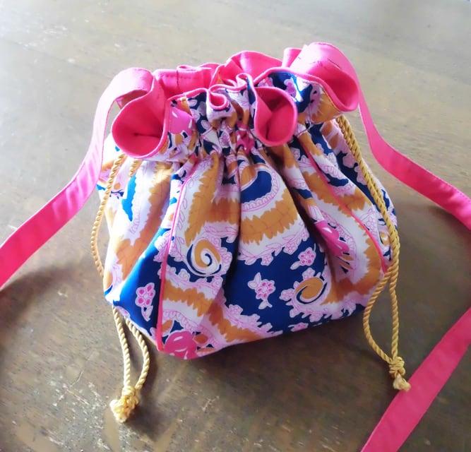 manokoko キンチャクショルダーバッグ 【Blue Flower】 ハンドメイド