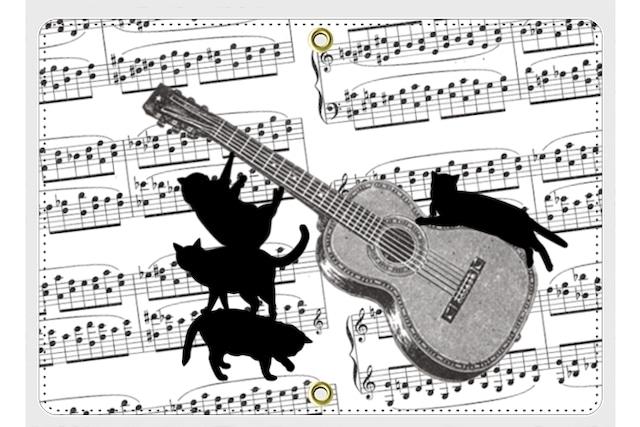 ギターと黒猫のパスポートケース