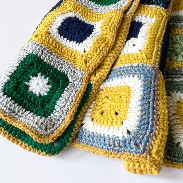 70年代  USA製 ハンドメイド ブランケット かぎ針編み グラニースクエア ヴィンテージ雑貨 ヴィンテージクロス