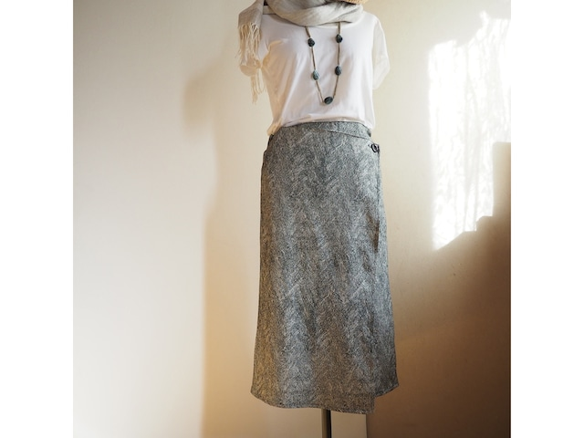 変わり縮緬大理石模様のラップスカート【一点もの】-着物(古布)から