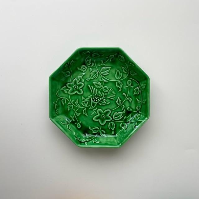 【限定数*有田焼】緑交趾(明) 花鳥彫八角皿