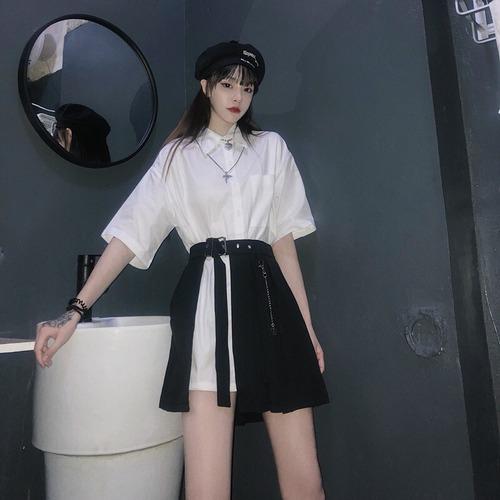 セットアップ ロングシャツ + プリーツスカート 韓国ファッション レディース 2点セット ミニスカート トップス シャツ 半袖 無地 ハイウエスト ガーリー DTC-620875865293