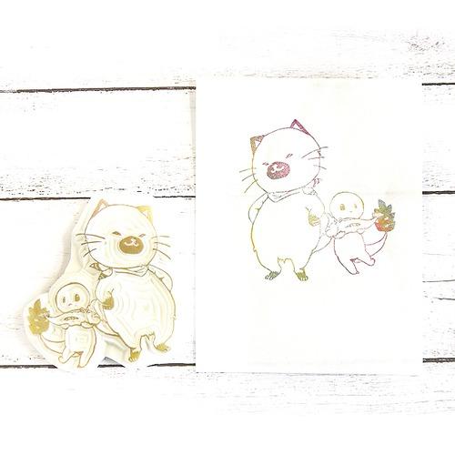 【嶋波誌麻×ヤマノグチ】ちゃらんイラストスタンプ(こげ太郎と一緒)/消しゴムハンコ