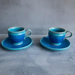 青のコントラストティーカップ-2個セット