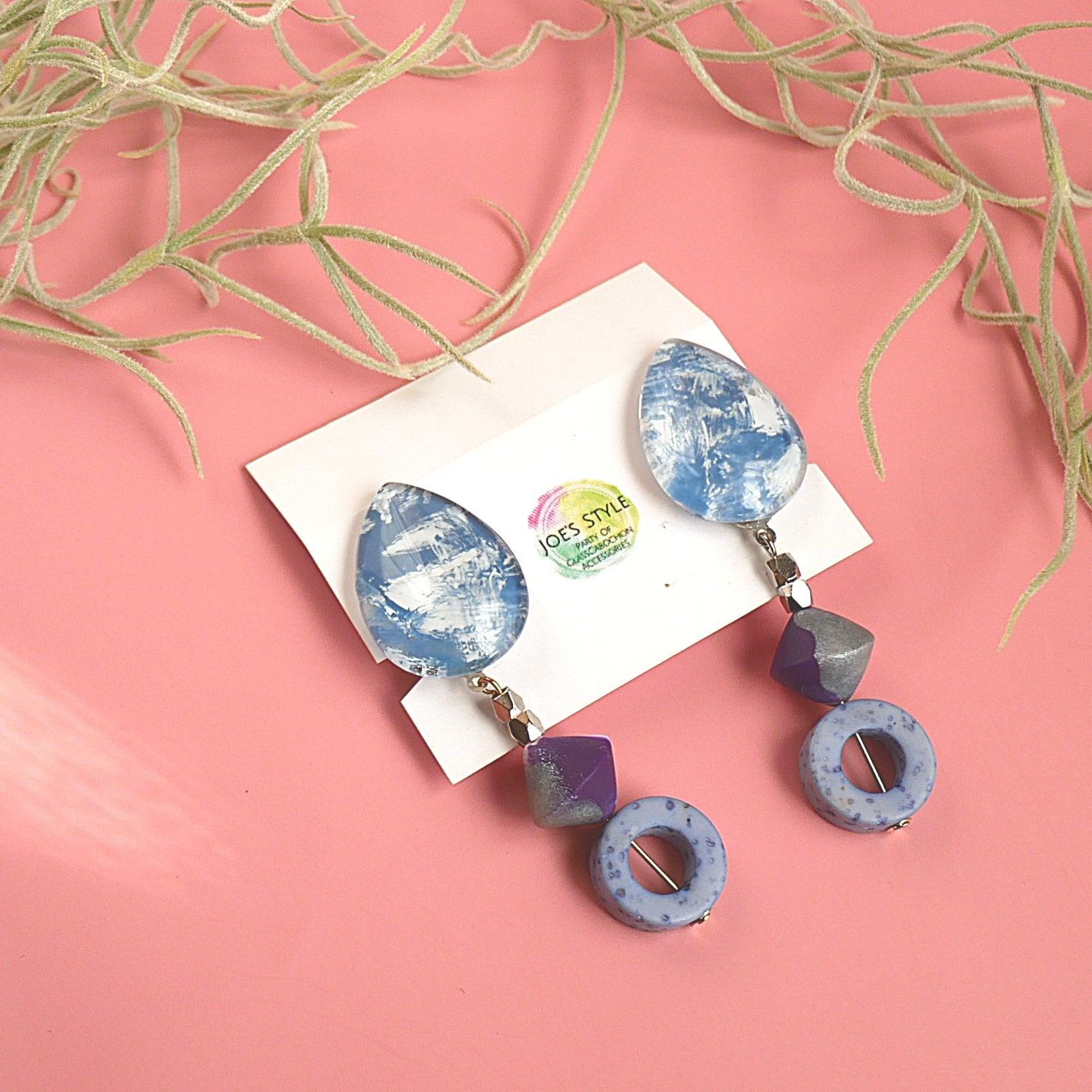 """"""" Earrings NO.0-1951″ブルーデニムペイントとクレイビーズ"""