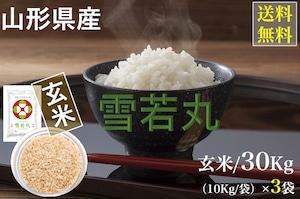 山形県産【雪若丸】玄米 30Kg/袋【送料無料】