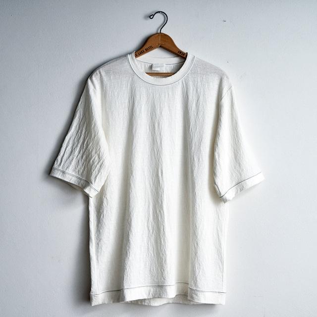 塩縮加工リネンニットTシャツ WHITE