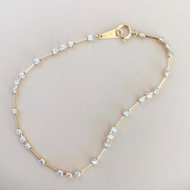 ダイヤモンド ライン ブレスレット 1.00ct K18イエローゴールド チェカ