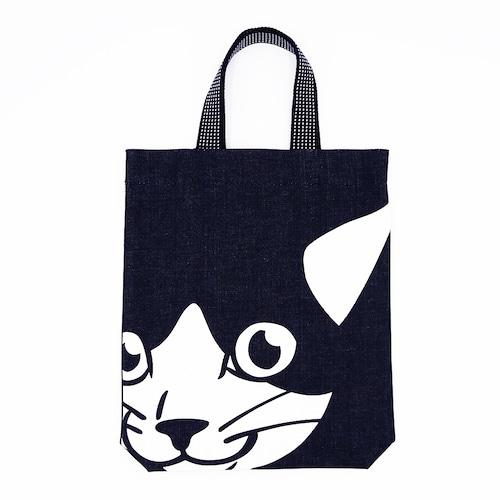 猫トートバッグ(デカ顔インディゴマチ付バッグ)ねこ顔