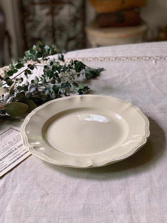 白い花リムの皿 デザートプレート 平皿 Digoin Sarreguemines