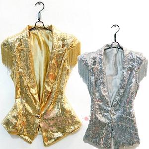 M1204レディースベスト  スパンコール ベスト  男女兼用 メンズ ダンスウェア 舞台衣装 ステージ衣装  ダンス衣装 トップス