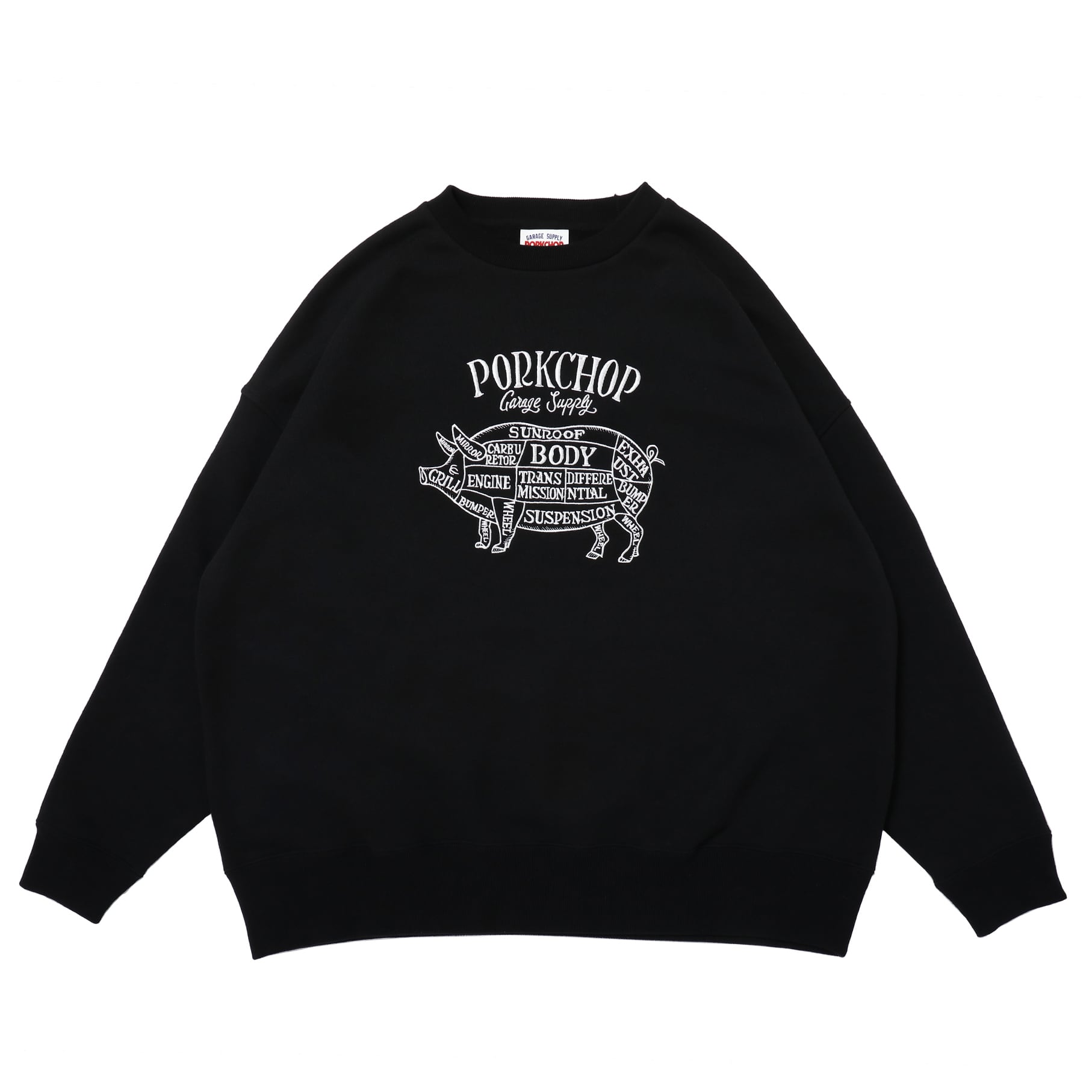 PORK FRONT STITCH SWEAT/BLACK