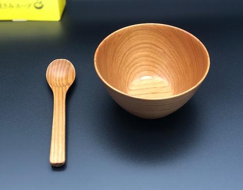 【お得なセット】木製 カフェオレカップとスプーン(オオヤマザクラ)