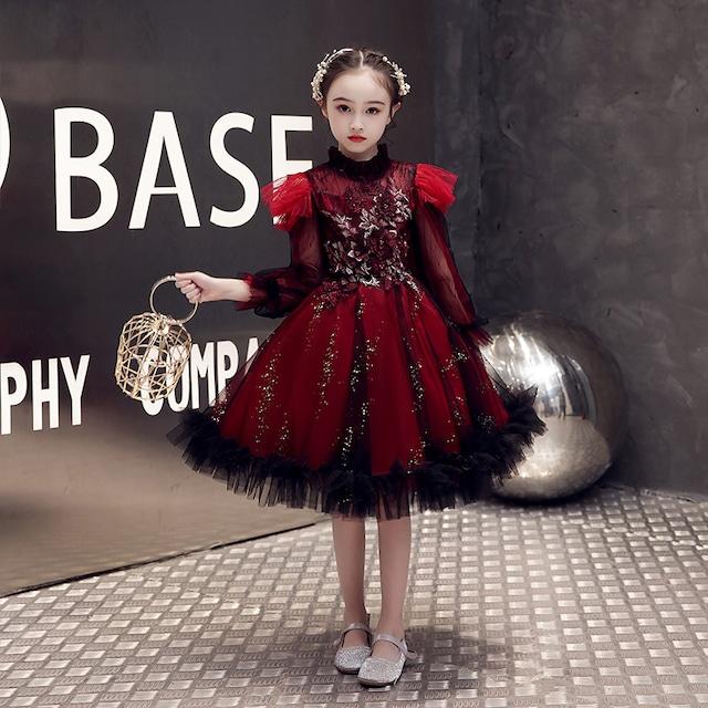 子どもドレス 子供ドレス キッズドレス 子供服装 演出装 舞台装 女の子 子供ワンピース 110 120 130 140 150 160 プレゼント 誕生日 花柄子供ワンピース ラウンドネック アップリケ チュール レッド 赤い