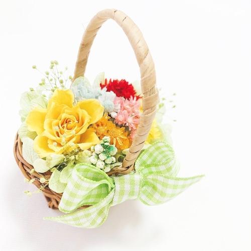 ミニバスケットアレンジ(プリザーブドフラワー・ドライフラワー)小花たっぷりパステルカラー