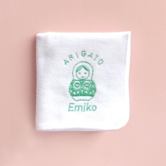 【名入れ】ありがとう刺繍ハンカチ  /  ご懐妊祝い・出産祝い・内祝い・プチギフト
