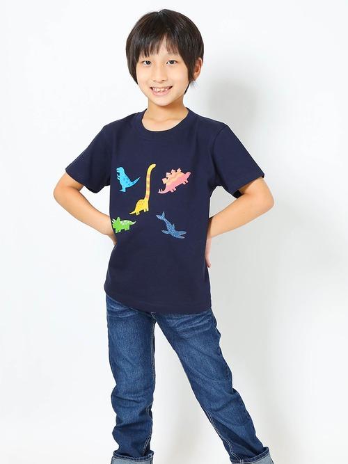 恐竜プリントTシャツ(子供用・恐竜ミックス)ネイビー【KT-AS】
