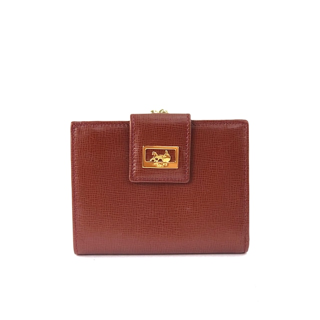 CELINE セリーヌ 馬車 ホースキャリッジ コンパクトウォレット コインケース レザー 財布 ブラウン Accessories nf8euh