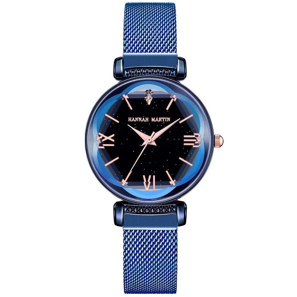 新日本MIYOTAムーブメントレディース高品質ブライトパープルステンレススチールマグネットメッシュ腕時計防水RelogioFemininoD8-BULE