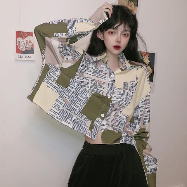【トップス】韓国系長袖シングルブレストPOLOネックショート丈シャツ43009095