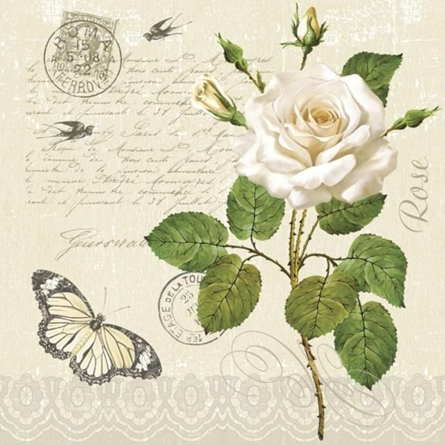 【Maki】バラ売り2枚 ランチサイズ ペーパーナプキン Vintage Rose Twig with Butterfly クリーム
