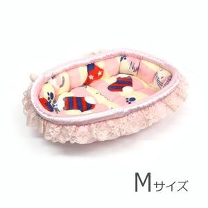 ふーじこちゃんママ手作り ぽんぽんベッド(サテンライトピンク・靴下ねこ柄)Mサイズ 【PB2-118M】