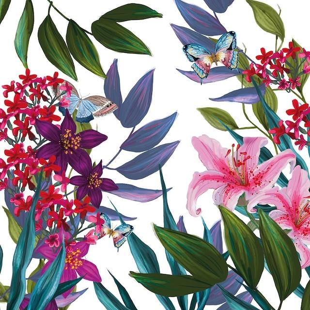 【Paperproducts Design】バラ売り2枚 ランチサイズ ペーパーナプキン Tropical Lilies ホワイト