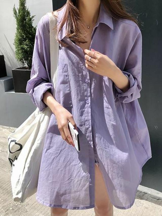 薄手 リネンシャツ ドロップショルダー ★2色