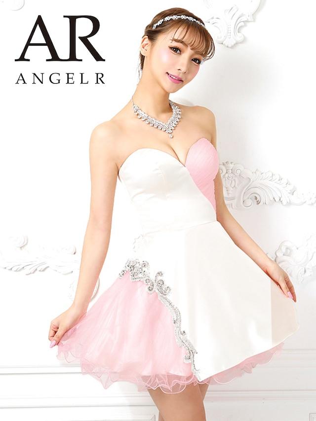 【AngelR】ハートカットバイカラービジューフレアミニドレス(AR9811)