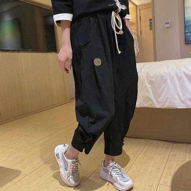 チャイナ風ズボン 夏用 クロップドパンツ ボトムス チャイナ風服 黒 ブラック 大きいサイズ M L LL 3L 合わせやすい