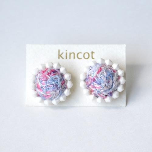 kincot 色糸 小さなまるピアス(ビーズ×パープルミックス)