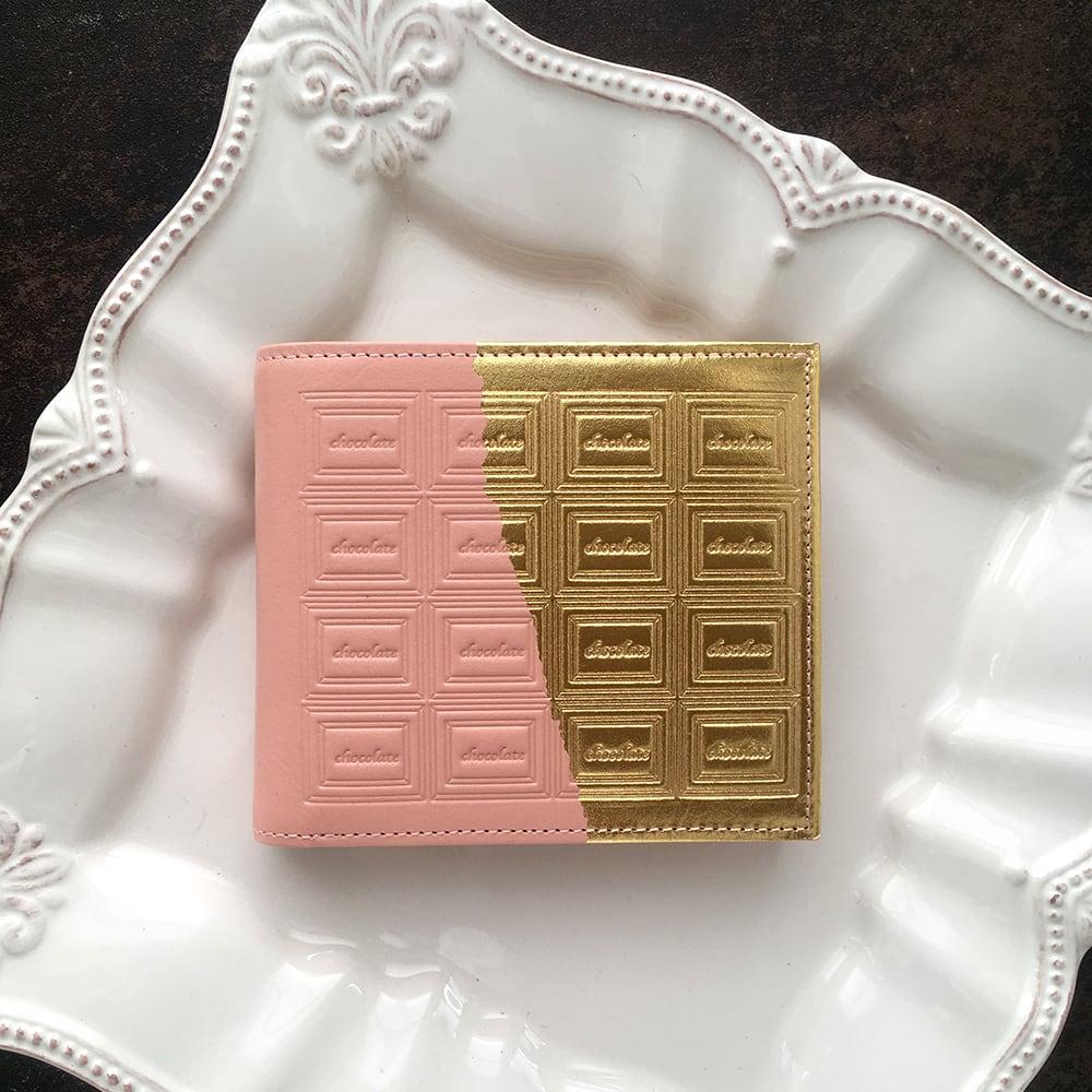 革のストロベリーチョコ・二つ折り財布(金の包み紙)