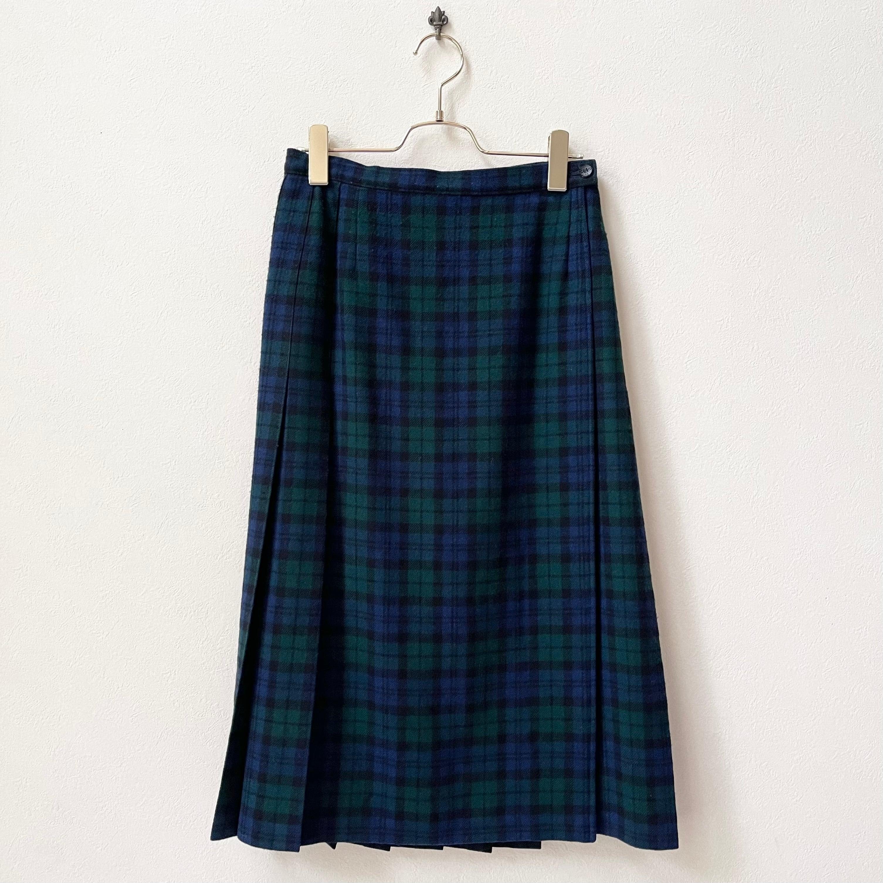 PENDLETON ペンドルトン チェック柄 プリーツラップスカート 70年代 USA製 レディース古着