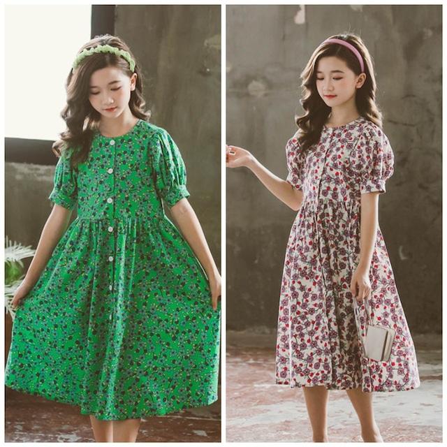 120㎝~165㎝ 2カラー ★ ワンピース 半袖 花柄 ロング丈 ドレス