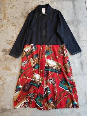 vintage docking design dress - black&red -