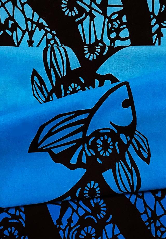 てぬぐい:つがい金魚変わり柄  (Blue gradation)