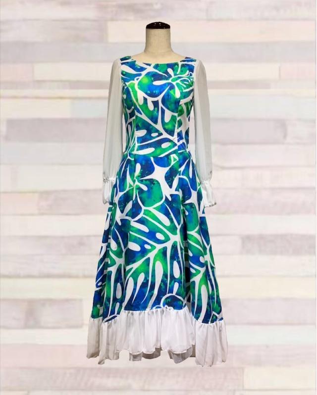 241063 / ドレス / ハワイアンプリント / ブルー