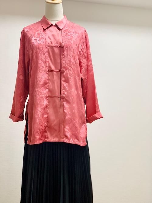 Vintage Jacquard Weave China Button Shirt