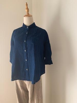 本藍染リネンガーゼ七分袖シャツ