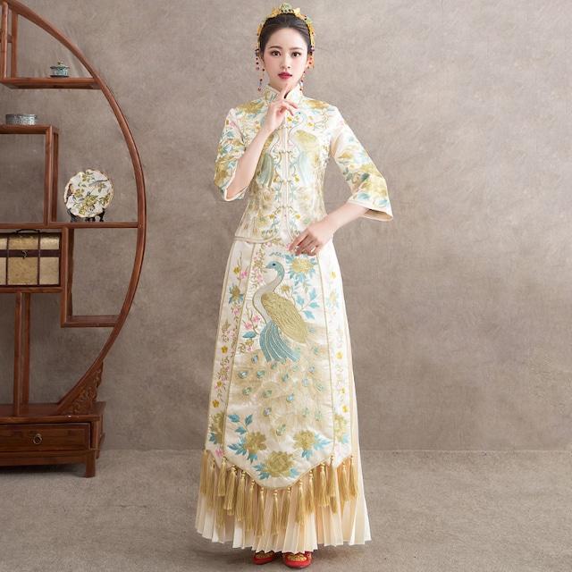 【唐装・漢服・秀禾服】上下セット 中華服 結婚式 刺繍入り トップス+ロングスカート SS  S M L LL 3L 4L