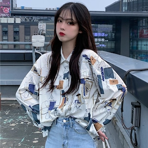 【トップス】プリントカジュアルストリートシャツ43008695