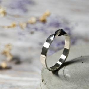 シルバーツイストリング ワンポイント 3.0mm幅 鏡面 3号~27号|WKS TWIST RING ONEPOINT 3.0 sv mirror|SILVER950 銀 指輪 FA-249