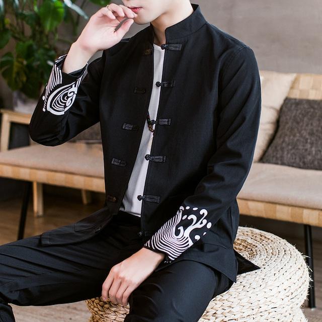【永言シリーズ】★チャイナ風アウター★ 3タイプ 早秋 ジャケット チャイナボタン 大きいサイズ ブラック 黒い
