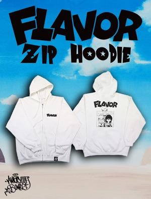 FLAVOR ZIP HOODIE -White-