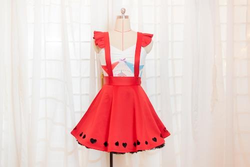 トランプ柄切り抜きスカート Laser-cut Skirt of Cards with detachable straps