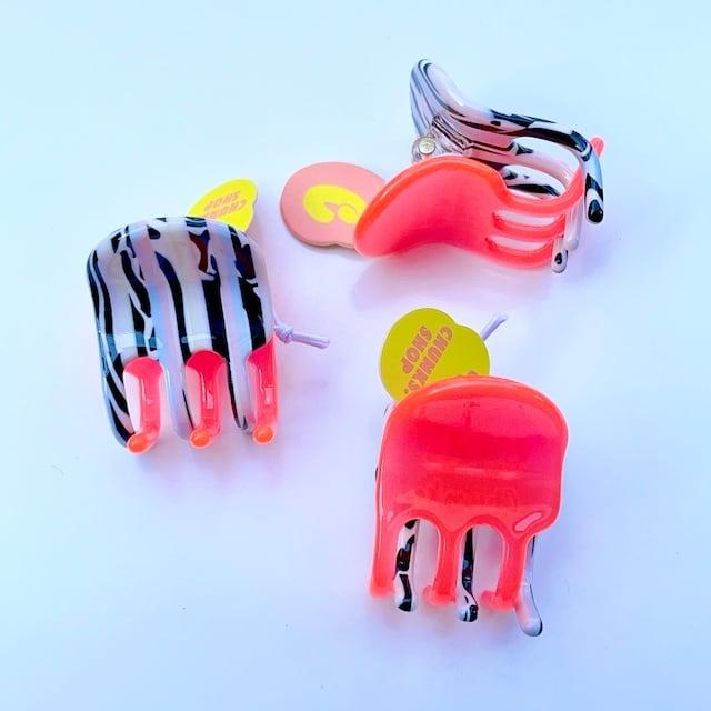 "Chunks ""Jester Mini Claw"" Orange Stripe チャンクス バンスクリップ・ヘアピン"