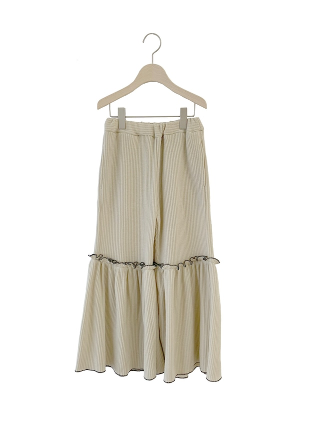 UNIONINI rib knit frill long pants (beige)  S/M