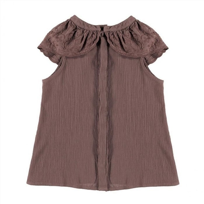 Belle chiara Lace ruffle blouse(Burgundy)