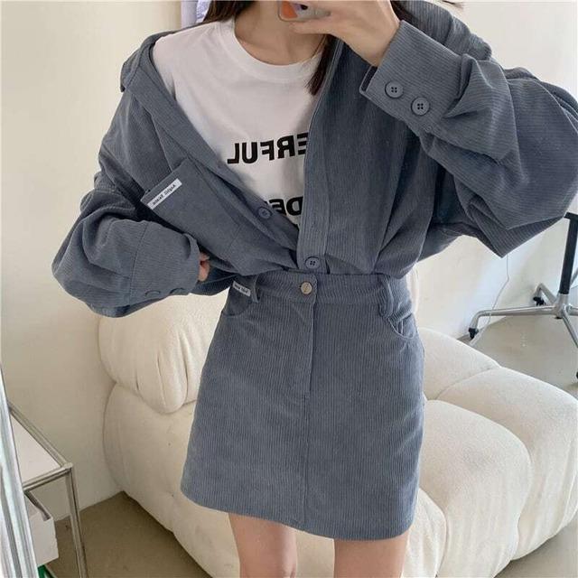 コーデュロイシャツ+ミニスカート S4871