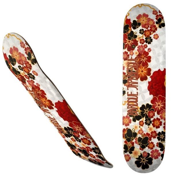 桜家紋蝶家紋 白 スケートボード裏面保護シート